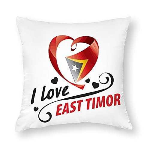 Kissenbezug mit Flagge, Osttimor, quadratisch, dekorativer Kissenbezug für Sofa, Couch, Zuhause, Schlafzimmer, Indoor Outdoor, niedlicher Kissenbezug 45,7 x 45,7 cm