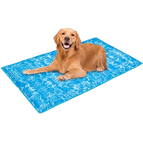 Dog Cooling Mat - Summer Cool Pad Comfortable Durable Pet Ice Cool Bed for Small Medium Large Dogs Cats Indoor & Outdoor Using, Wave Pattern, X-Large