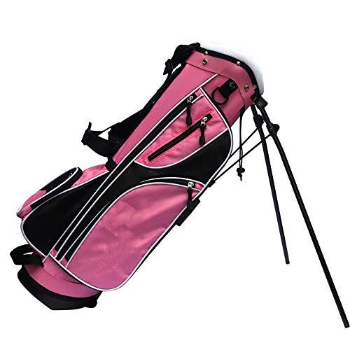 Golftaschen Golf Stand Bag Leichte Gehen Golf Cart Bag mit Ständer und Dual-Straps for leicht zu tragen Golftasche (Color : Pink, Size : 26x26.5x76cm)