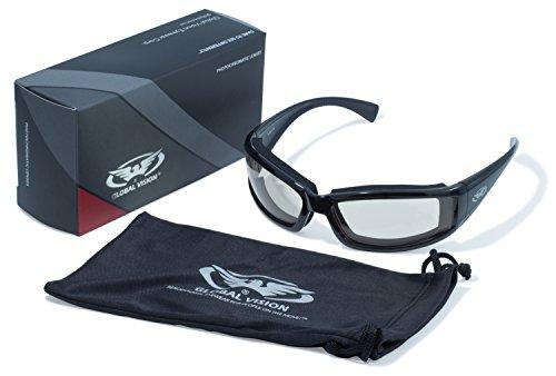 Global Vision Eyewear 24 Stray Cat Série avec Cadre Noir Brillant et Clair Anti-buée Verres Photochromiques