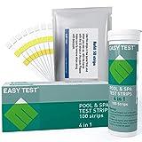 EASYTEST - Strisce reattive per piscina, spa e vasca idromassaggio (50+50), kit di test per acqua per piscina, test accurati e facili per test di cloro, bromo, alcalinità totale e pH