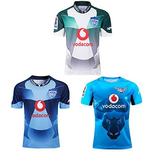 JUNBABY 2019 Bulls Rugby Tricot, 2020 Herren Rugby T-Shirt, Fußballtrikot des Athleten-Blue-M