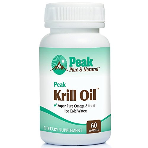 Peak Pure & Natural, Peak Krill Oil Supplement | Better Than Fish Oil for Joint and Heart Health | Krill Oil Brain Supplement | EPA, DHA, and Astaxanthin | 60 softgels