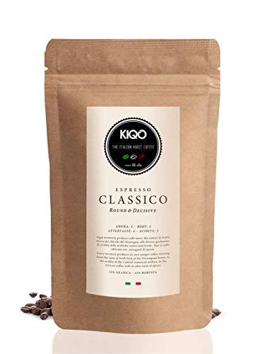 KIQO Classico 1kg Espresso aus Italien | in schonenden Kleinstchargen geröstet | säurearm | 35% Arabica & 65% Robusta Bohnen (1000g - ganze Bohnen)