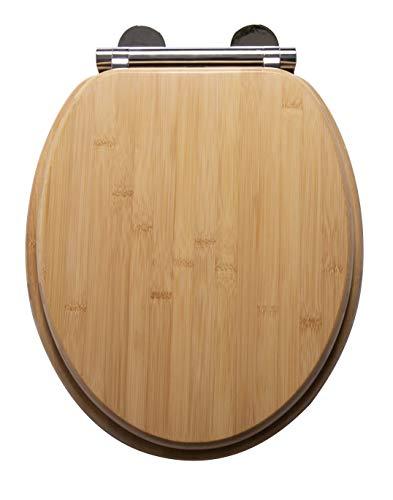 Croydex WL606079H Flexi-Fix Cavazzo Always Fits Never Slips Soft Close, sgancio rapido, Sedile per WC Antibatterico, in bambù, Taglia Unica