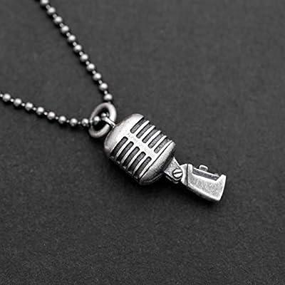 925 en argent sterling collier pour hommes pendentifs pour hommes collier pendentif vintage cool microphone collier chaîne chanteur musique bijoux hommes cadeau