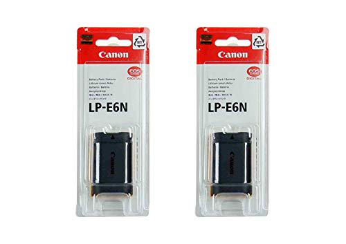 2 Pack LP-E6N Battery for Canon EOS Digital SLR 60D, 70D, 80D, 5DMKII, MKIII, Mark IV, 5DS 5DS R, 6D, 6DMKII, 7D, 7DMKII, EOS R