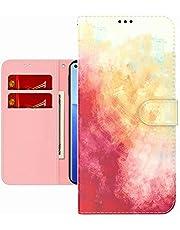 TYWZ Kleurrijke Schilderij Portemonnee Case voor Xiaomi Redmi Note 10 4G, Aquarel Ontwerp Folio Flip PU Leer met Kaarthouder Slots Stand Functie Cover-Roze