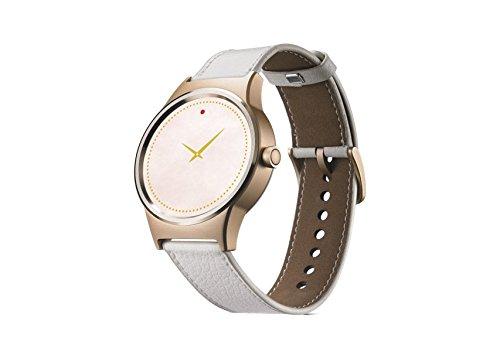 TCL MOVETIME Smartwatch Gold mit weißem Lederband