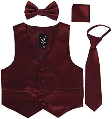 Burgundy Big Boys 4 Piece Formal Satin Vest Set Zipper Tie Bowtie Hanky 8 product image