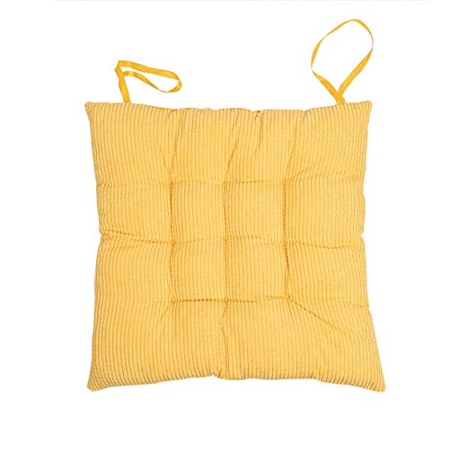 Uheng Patio Indoor Outdoor Chair Pads Chair Seat Cushions with Ties, Solid Color Square Kitchen Dining Chair Mat Comfort Non-Skid for Garden - 15'x15' (2Pack, Yellow)