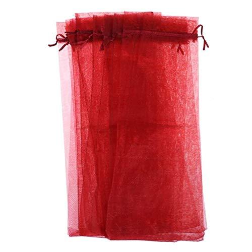 Nrpfell Bolsas de Organza para Vino, Paquetes de Envoltura de Regalo con CordóN, Bolsas de Regalos para Bodas, Suministros de DecoracióN del Hogar (Rojo, 30 Piezas)