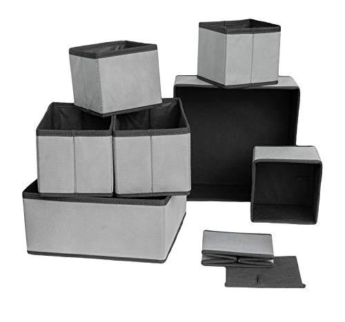 MC's Goods 4er | 8er Aufbewahrungsbox (grau) aus Stoff für Schubladen und Kleiderschrank zum Aufbewahren von Unterwäsche, Socken, etc.| Faltbare Stoffbox Organizer für Schubladen Ordnungssystem