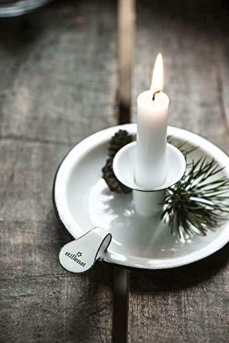 windschief-living Zauberhafter Emaille Kerzenhalter Kammerleuchte STILLENAT für Stabkerze