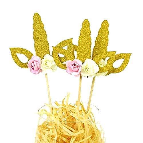Astra Gourmet 12-Pack Gold Glitter Unicorn Cupcake Toppers, Unicorn Birthday, Unicorn Party Supplies, Unicorn Horn.