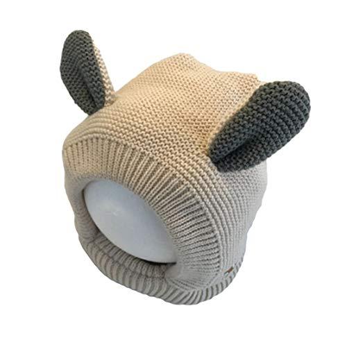 HIOD Sombreros de Punto para Bebé de Invierno para Niños Gorros Lindos para Niños Pequeños con Dos Orejas para Niños Niñas,Beige