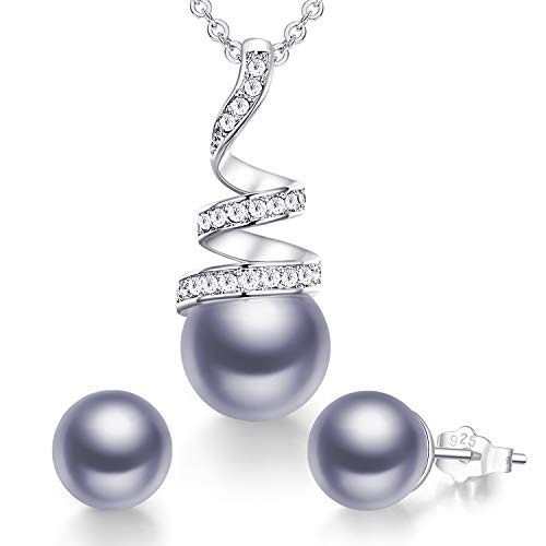 CDE Pearl Jewelry Sets for Women Sterling Sliver/White Gold/Rose Gold Plated Pearl Pendant Necklace Embellished with Crystals Christmas Jewelry Gift Birthday Gift for Mom Women Wife Girls Her