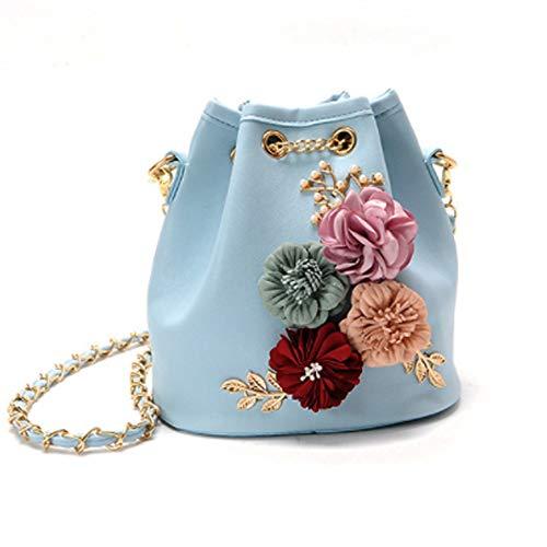 WeMiao damen floral bucket bag umhã¤ngetasche mit kette strap drawstring satchel handtasche schultertasche (blue)