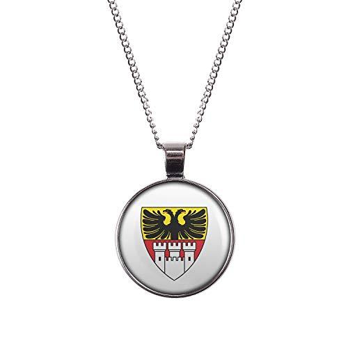 Mylery Hals-Kette mit Motiv Stadt-Wappen Flagge Duisburg Silber 28mm