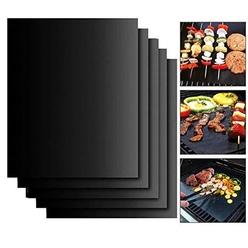 EXTSUD BBQ Grillmatten, 5er Set BBQ Grillmatte Antihaft Grill-und Backmatte Wiederverwendbar PFOA-Frei-Toll über Kohle, Gas und Weber Style Grills-Perfekt für Fleisch,Fisch und Gemüse 40x33 cm MEHRWEG