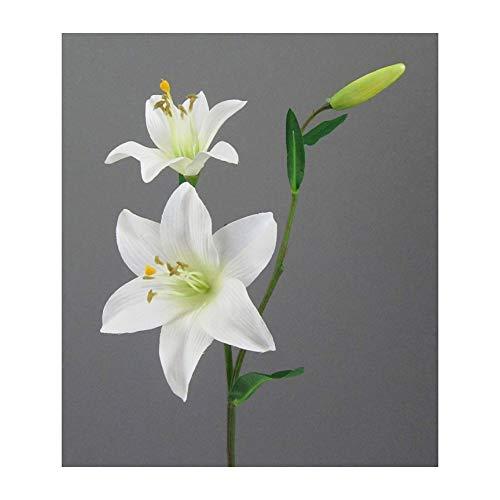 Kunstblumen Lilie 60 cm. Mit 2 Lilien Blüten und Knospe. Weiß. Weiss -40