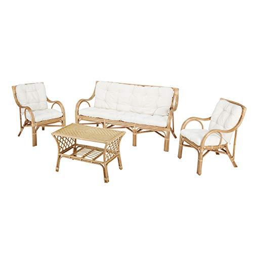 Rotin Design Conjunto de Ratan salón Elim de bambú 1 Sofa, 2 sillones, 1 Mesa