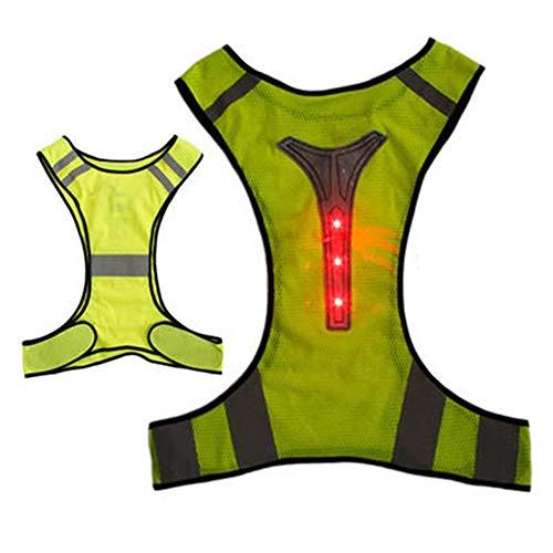 Sicherheitsweste LED Leuchtweste Reitnachtlauf Mountaineering LED Warnweste Schutzkleidung für Verkehrsindustrie Nacht Aktivitäten (Color : Yellow, Size : One Size)