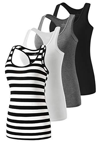 Star Vibe Racerback Workout Tank Tops for Women Basic Athletic Tanks Yoga Undershirt Sleeveless Exercise Tops 4 Pack