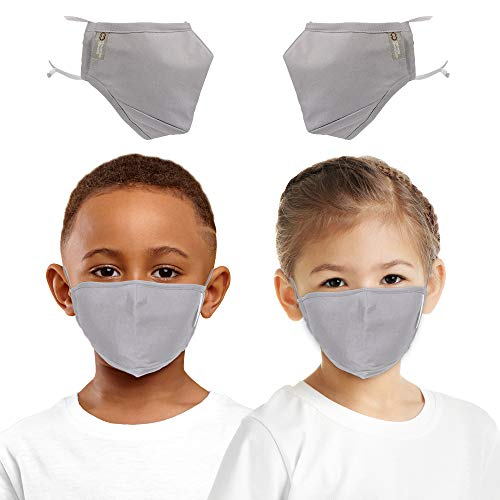Copper Compression Face Mask for Kids- Highest Copper Content Reusable Face Masks For Boys and Girls - Set of 2 (Gray)