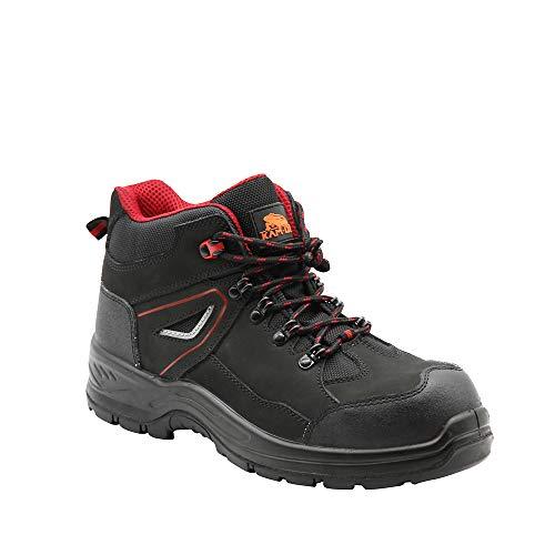KAM-LITE Botas de trabajo impermeables para hombre, de piel y acero, con puntera, para senderismo, S3 SRC, color negro, color Negro, talla 46 EU