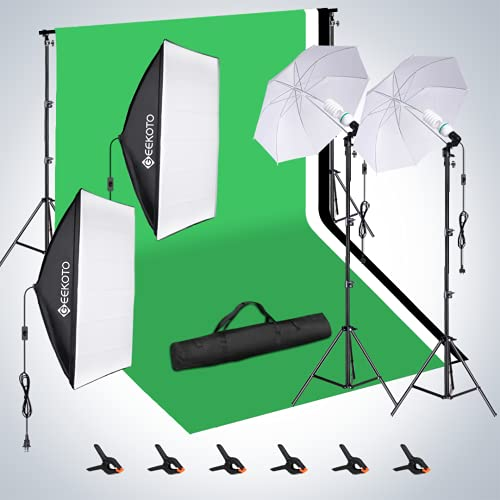 Hpusn softbox continuous lighting kit professional studio photography with max 8. 5ft x 10ft background support system,2 reflectors 20x28 inch umbrellas for portrait and photography