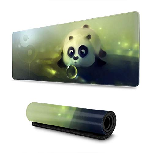 Cute Panda Gaming Mouse Pad XL, Extended Large Mouse Mat Desk Pad, Stitched Edges Mousepad, Long Non-Slip Rubber Base Mice Pad, 31.5 X 11.8 Inch