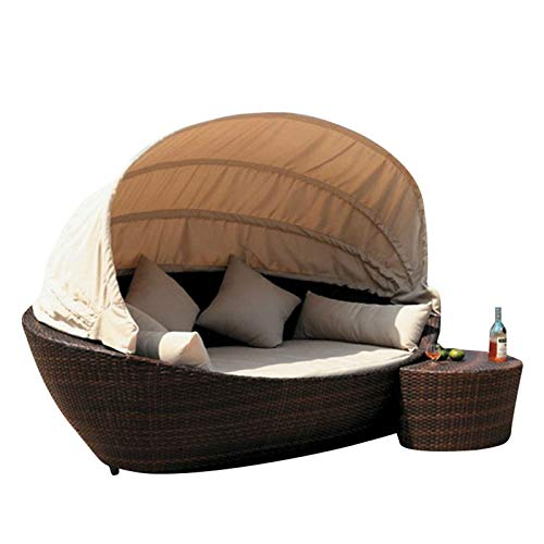 Patio Daybed Furniture,Outdoor Lawn Backyard Poolside Garden Round Sofas with Retractable Canopy Tent, Leisure Wicker Chair,Wicker Rattan Round Daybed, Seating Cushioned Seats