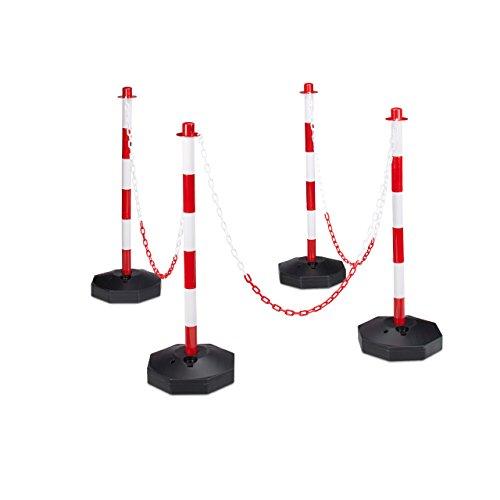 Relaxdays Kettenpfosten H x B x T: ca. 82 x 112 x 28 cm 4 Absperrpfosten aus Kunststoff mit 3 praktischen Absperrketten als Sperrpfosten mit stabilem Standfuß befüllbar mit Wasser, rot-weiß