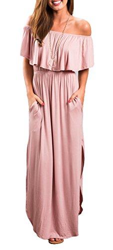 Womens Off The Shoulder Ruffle Party Dress Side Split Beach Long Maxi Dresses Pink M
