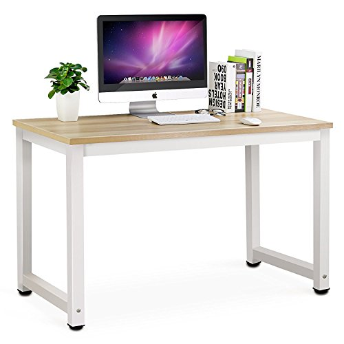 Tribesigns Computer Desk, 55 inch Large Office Desk Computer Table Study Writing Desk Workstation for Home Office, Light Walnut
