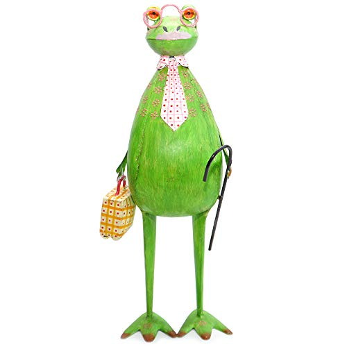 Exner Frosch mit Koffer witzige Dekofigur Metall Garten-Deko Metall-Figur grün 46 cm