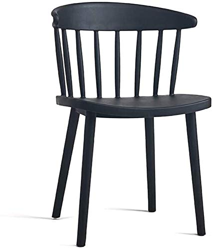 TYUIOYHZX Stuhl Sleek Minimalist Cafe Restaurant Gelegenheits Stuhl Empfang Stuhl Windsor-Stuhl Plastikstuhl, Stuhl Heim Dining Chair (Color : Black)