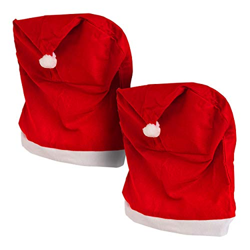 mumbi Stuhlhussen 2er Set Stuhlbezug Rot Weihnachten Nikolausmütze Weihnachtsdeko Weihnachtsmütze Stuhlüberzug Stuhldeko Husse Stuhl