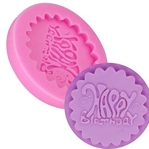CSCZL Feliz cumpleaños Fondant de Silicona Molde de Pastel 3D Cupcake Jelly Candy Chocolate Decoración Moldes de Herramientas para Hornear