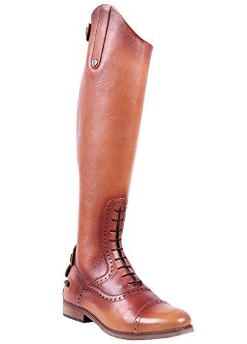 QHP Damen Luxus Leder-Reitstiefel Sophia Normale Wadenweite Größe 36-42 (40, Cognac)