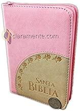 Santa Biblia Compacta (pequeña) con Cierre para Jovenes - Reina-Valera 1960 - imitación piel - rosa con crema
