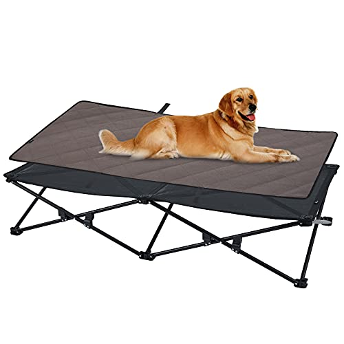 KingCamp Erhöhtes Hundebett Hundeliege Haustierbett Haustierliege Atmungsaktivem Mesh & Wildledermatte & Rutschfesten Füßen für Reisen Garten Outdoor Indoor (XXL)