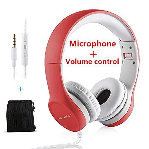Hisonic Kopfhörer für Kinder, Leicht kopfhörer Kinder Kopfhörer mit Laustärkebegrenzung auch Mikrofon Verstellbare Kinder Erwachsene Headset für Jungen und mädchen ab 3 Jahre (Rot)