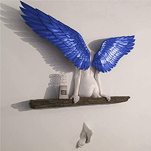 Heroicn Angel Art Sculpture Wall - Decoration 3D Statue for Living Room Bedroom Decoration Angel Wings Wall Scuplture, Minimalist Wall Decor Crafts (Color : Blue)