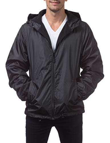 Pro Club Men's Fleece Lined Windbreaker Jacket, 5X-Large, Black