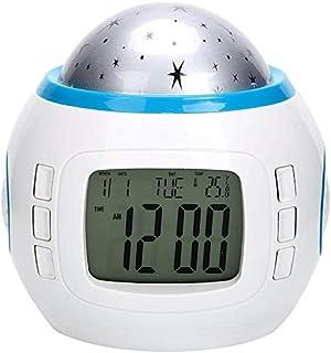 Keetech väckarklocka LED-display projektionsur digital musik Star Sky projektionskalender termometer snooze