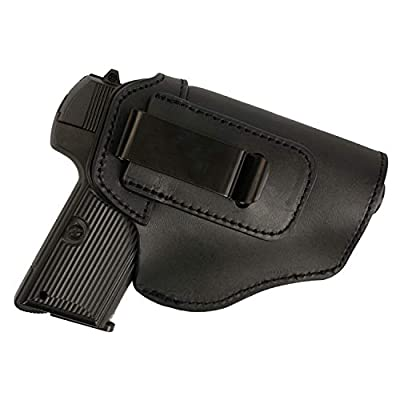 FUNTRESS Leather Holsters for Pistol Concealed Carry Handgun Waistband Glock 19 Holster Belt for Women Men Fit M1911 Glock 17 26 43 S&W 9mm .45 Similar Size Models