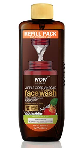 WOW Skin Science Apple Cider Vinegar Foaming Face Wash Refill Pack - with Organic Certified Himalayan Apple Cider Vinegar - For Extended Use - No Parabens, Sulphate, Silicones & Color - 200 ml