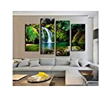 three thousand 4 Panel Wall Painting Green Forest Waterfall Lake Large Hd Picture Modern Style Canvas Print Home Decor Unframed,20X40Cmx2Pcs 20X50X2
